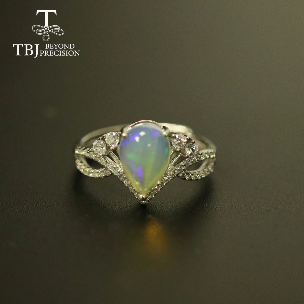 1.2ct Natural Opal Ring Pear 7*10mm  Real Opal Gemstone Jewelry Solid 925 Sterling Silver Fine Jewelry Women Gift Tbj
