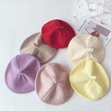 Шерстяные Детские береты однотонная шапка теплая вязаная тыква