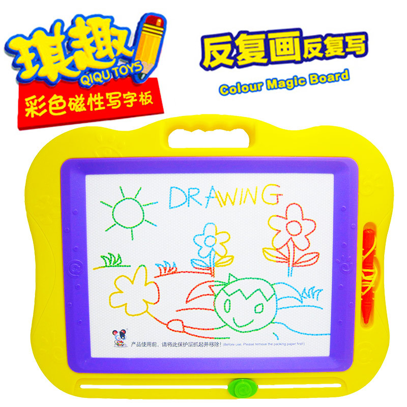 Infants Teaching Aids Qiqu Toys Large Size Color Sketchpad Magnetic Drawing Board Doodle Board Q