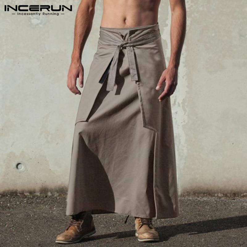 INCERUN  Kilt Samurai Trouser Fashion Mens Kilts Martial Arts Style Kendo Skirts Men Retro Solid Pockets Military Skirts