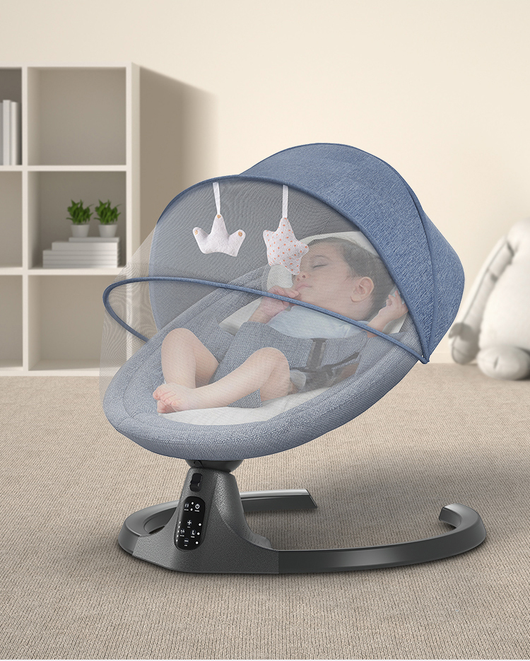 H31c799d99355439cbc616298c8fc532fd Baby Electric Rocking Chair Bluetooth Remote Artifact Newborn Baby Sleeping Basket with music Kids Swing cardle 0-36month