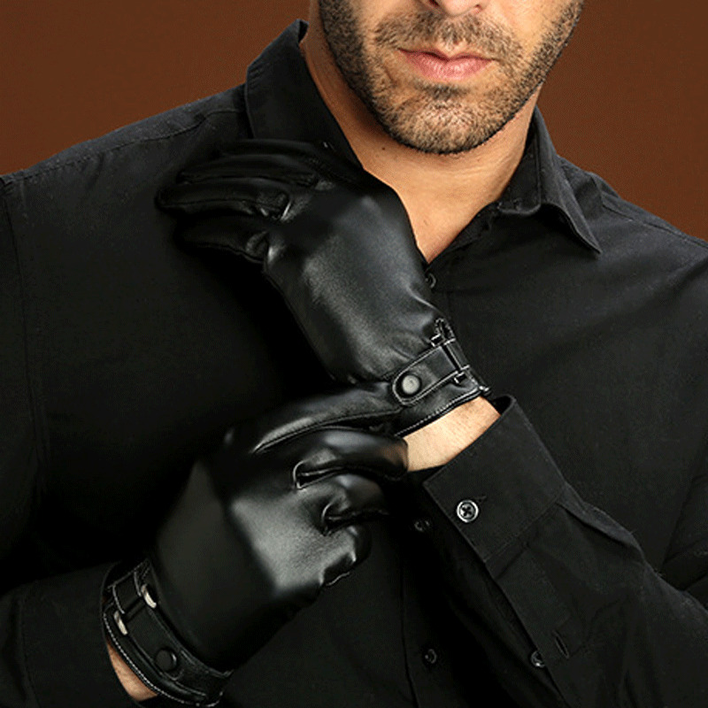 Waterproof Mens Winter Faux Leather Gloves Fashion Touch Screen Thermal Lined Driving Warm Gloves