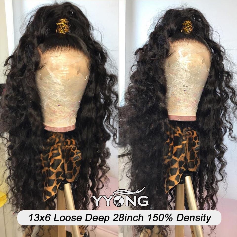 YYong 4x4 Lace Closure Wigs 32inch Long  Loose Deep Wave 1x6 Topline HD Transparent T Part Lace Wigs  Wig 4