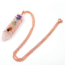 FYJS Unique Female Jewelry Rose Gold Color Wire Wrap Sword Shape Pendant Natural Rose Pink Quartz Necklace