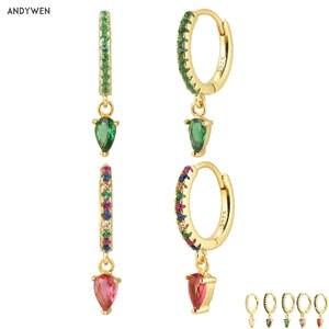 Andywen Water-Drop-Earring Piercing Loops Crystal Ohrringe Green-Zircon Women 100%925-Sterling-Silver
