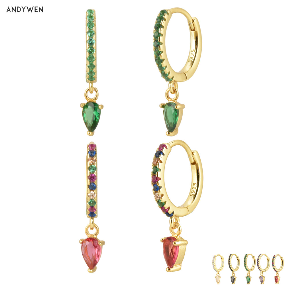 Andywen 100% 925 Sterling Silver Ovals Water Drop Earring Green Zircon CZ Circle Round Loops Crystal Women Piercing Ohrringe