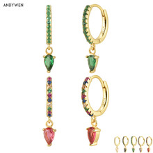 Andywen 100 925 Sterling Silver Ovals Water Drop Earring Green Zircon CZ Circle Round Loops Crystal