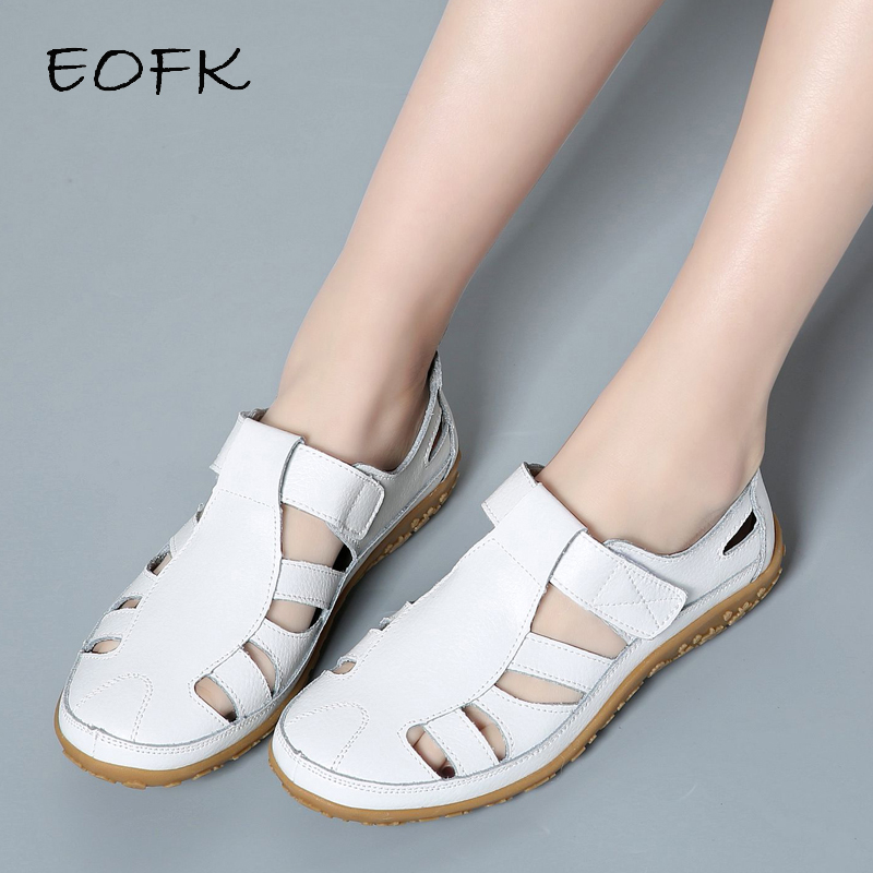 EOFK New Women Gladiator Sandals Genuine Leather Hollow Casual Comfortable Soft Bottom Summer Ladies Flat Beach Sandals Woman
