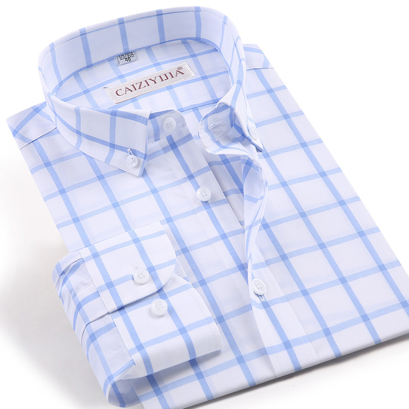 Men's Fashion Long Sleeve Plaid Checkered Dress Shirt Easy Care Fabric - Wrinkle Free Casual Gingham Button Down Cotton Shirts