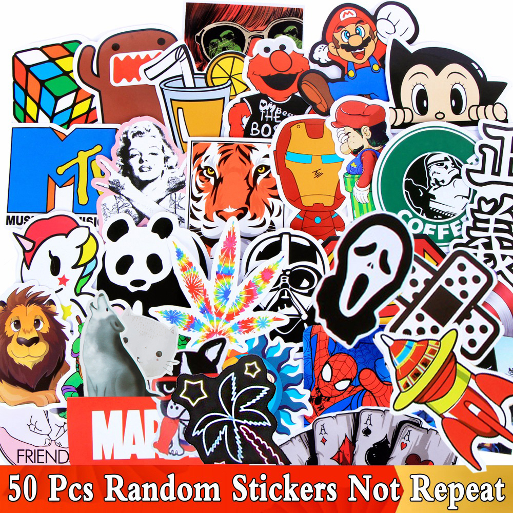 Random 50 PCS/Lot Different Style Funny Stickers For Kids Skateboard Luggage Fridge Motorcycle Laptop Phone Graffiti Toy Sticker