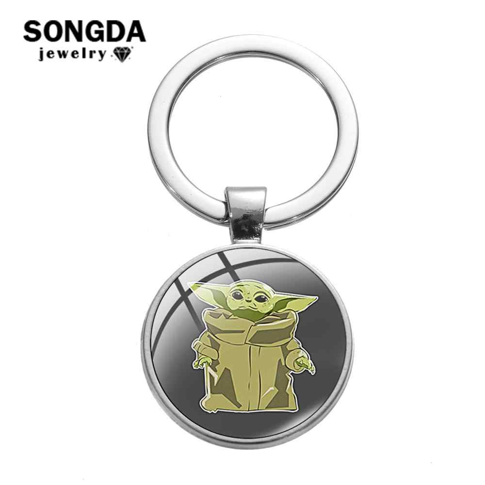 SONGDA Movie The Mandalorian Baby Yoda Keychain Cute Yoda & Mando Anime Printed Glass Dome Pendant Keyring Car Key Chain Jewelry
