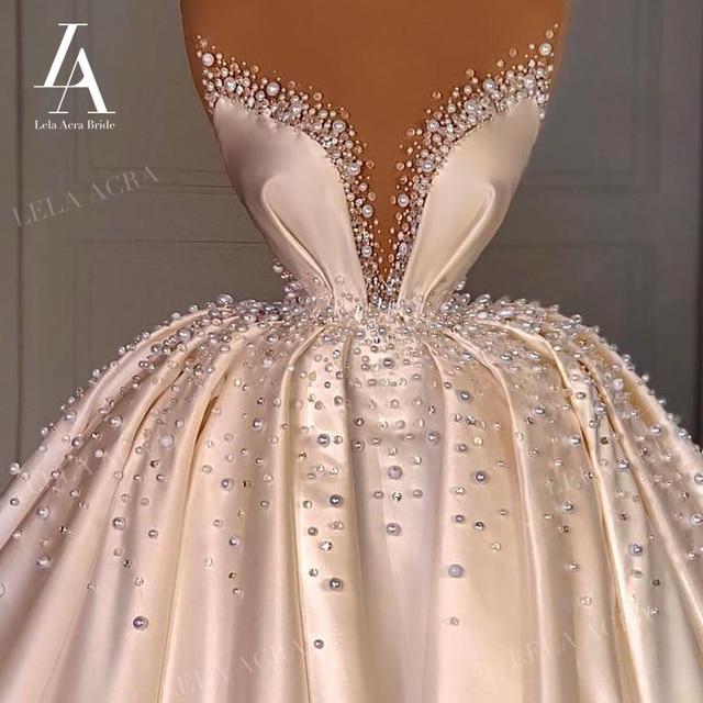 LelaAcra Luxury Pearls Wedding Dress 2021 Sweetheart 3 In 1 Bridal Ball Gown Vintage Princess VS01 Plus Size Vestido De Novia 6