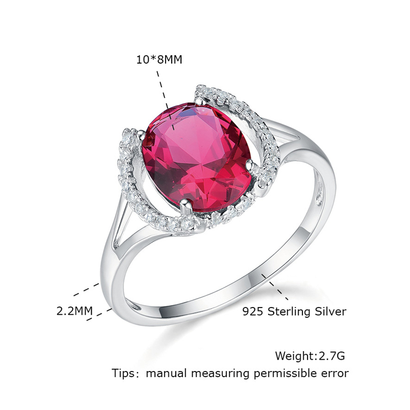 Women's Rings 925 Sterling Silver Jewelry Ring With Oval Cut Gemstone Blue Sapphire Red Ruby Green Emerald CZ Ring Wedding Gifts 6