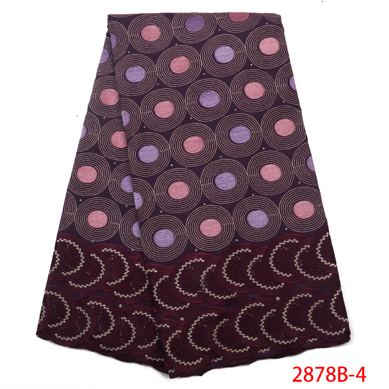 High Quality African Swiss Voile Lace Fabric With Stones Soft Embroidery Dry Voile Lace Materials In Switzerland  YA2878B-4