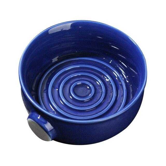 2 Colors Ceramic Shaving Lather Bowl Thread Bottom Wide Mouth Man Wet Shaving Pottery Soap Cream Mug