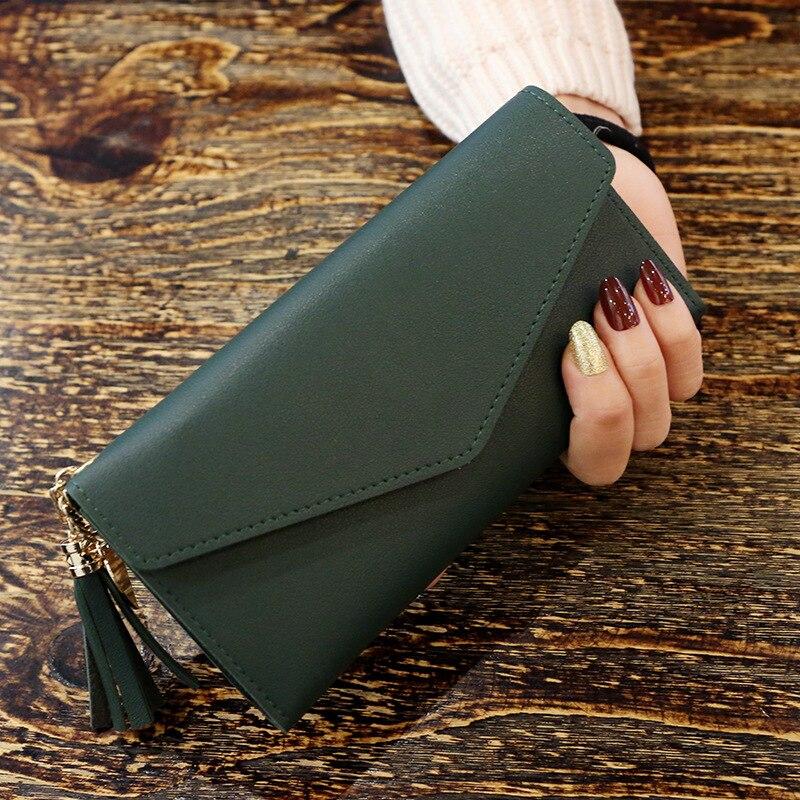 Модные женские кошельки, простые кошельки на молнии, черные, белые, серые, красные, длинный секционный клатч, кошелек из искусственной кожи, сумка для денег - Цвет: DarkGreen