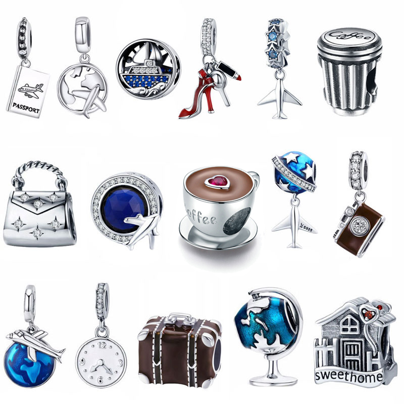 Jewelry Bracelet Charm Tower-Camera Shoes House Coffee-Cup Eiffel Travel-Dream DIY 925-Sterling-Silver