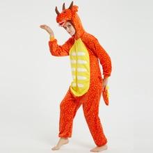 Orange Triceratops Unisex Adult Animal Pajamas Onesies Cosplay Large Cartoon One-piece Sleepwear Christmas Costume