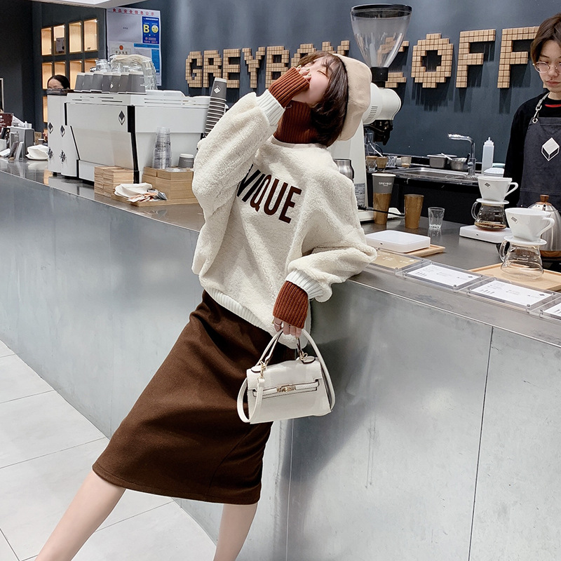 2019 Spring New Style Knitted Joint High Collar Lambswool Hoodie Women's Loose-Fit Tops + Woolen Skirt F5712