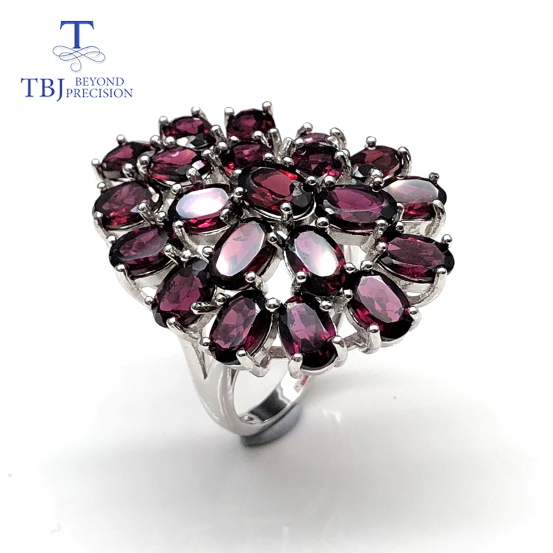 Rhodolite ring latest flower shape big Emebedded Ring Natural gemstone with 925 sterling silver fine jewelry for women lady wife