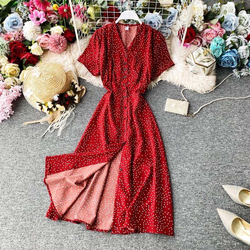 Korean Red Elegant Sexy Dress Women 2020 Summer Beach V-neck Polka Dot Midi Dress Waist Split Dress Vestidos De Fiesta  Clothes