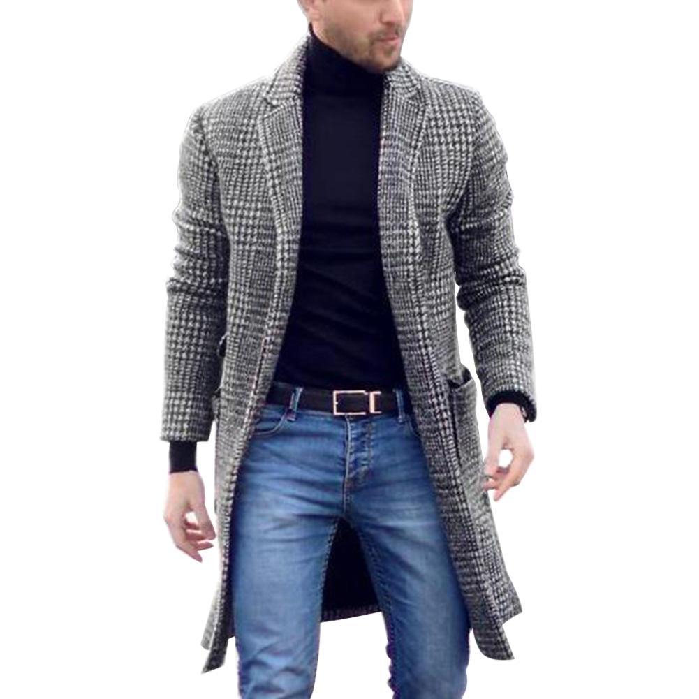Vintage Men Autumn Winter Plaid Lapel Collar Midi Woolen Coat Warm Slim Cardigan Fashion Men Hoodie Thick Cardigan Coat Long Sle
