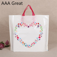 100Pcs/Lot Plastic Handles Bag Plastic Boutique Jewelry Gifts Bags With Handle Heart Flowers Storage Supermarket Pouches Present