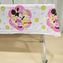 108*180cm Minnie Mouse Party Supplies Cartoon Tablecloth Birthday Disposable Decoration Tablecover Baby Shower Tableware