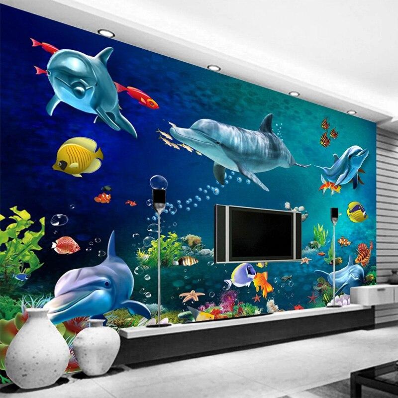 Buy Photo Wallpaper 3d Underwater World Cartoon Children S Bedroom Background Wall Decor 3d Waterproof Wall Stickers Kids Wallpaper Cicig