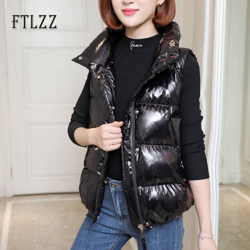 Women Sleeveless Wasitcoat New 2019 Autumn Winter Warm Zipper Stand Collar Short Coats Ladies Fashion Bright Jacket Outwear Top