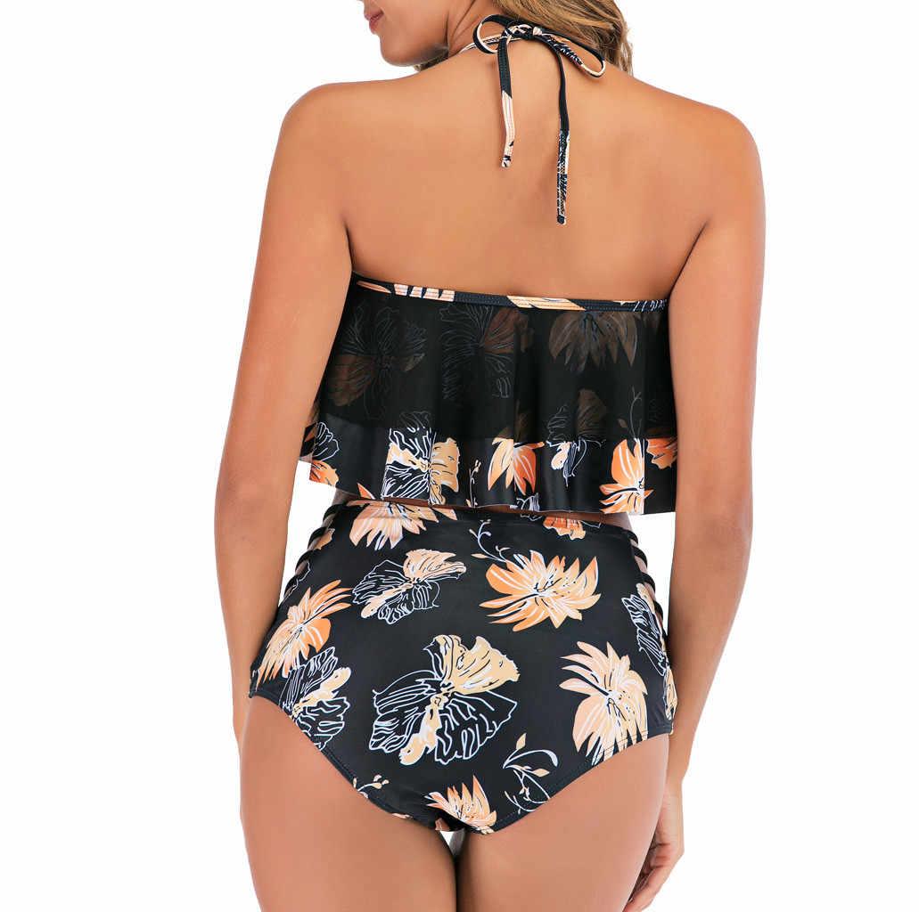 Женский сексуальный купальник-танкини с многослойным ремешком и цветочным воланом, высокая талия, купальник, пляжная одежда, летний купальный костюм