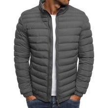 Мужские полосатые парки, зимняя куртка, Мужская классическая теплая парка, пальто, Casaco Masculino, верхняя одежда на молнии с карманами и стоячим воротником, топы, пальто