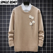 Knitted Sweater Pullover Korean-Style Jumper Harajuku Flower Singleroad Winter Casual