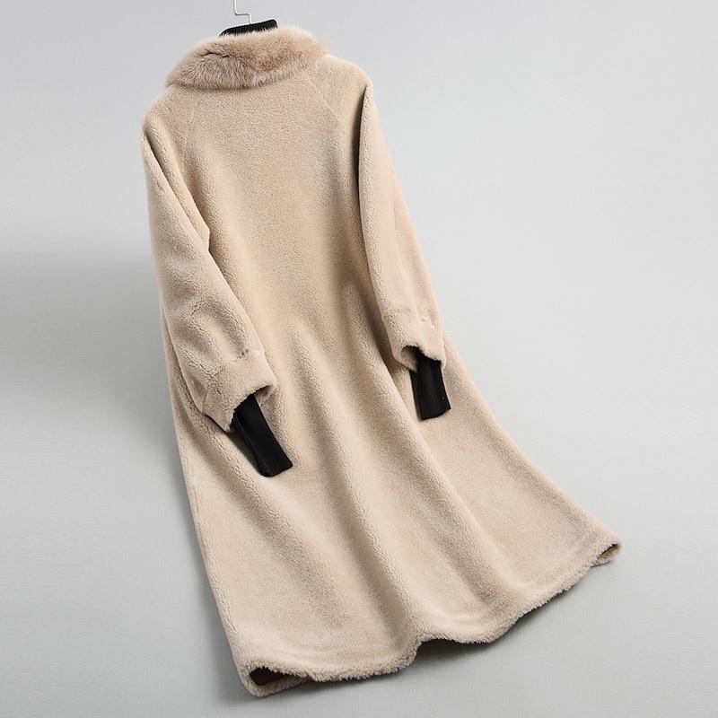 Women's 2020 Fur Coats With Natural Mink Fur Collar Real Wool Sheep Shearing Fur Coat Female Winter Jacket Women WYQ2034