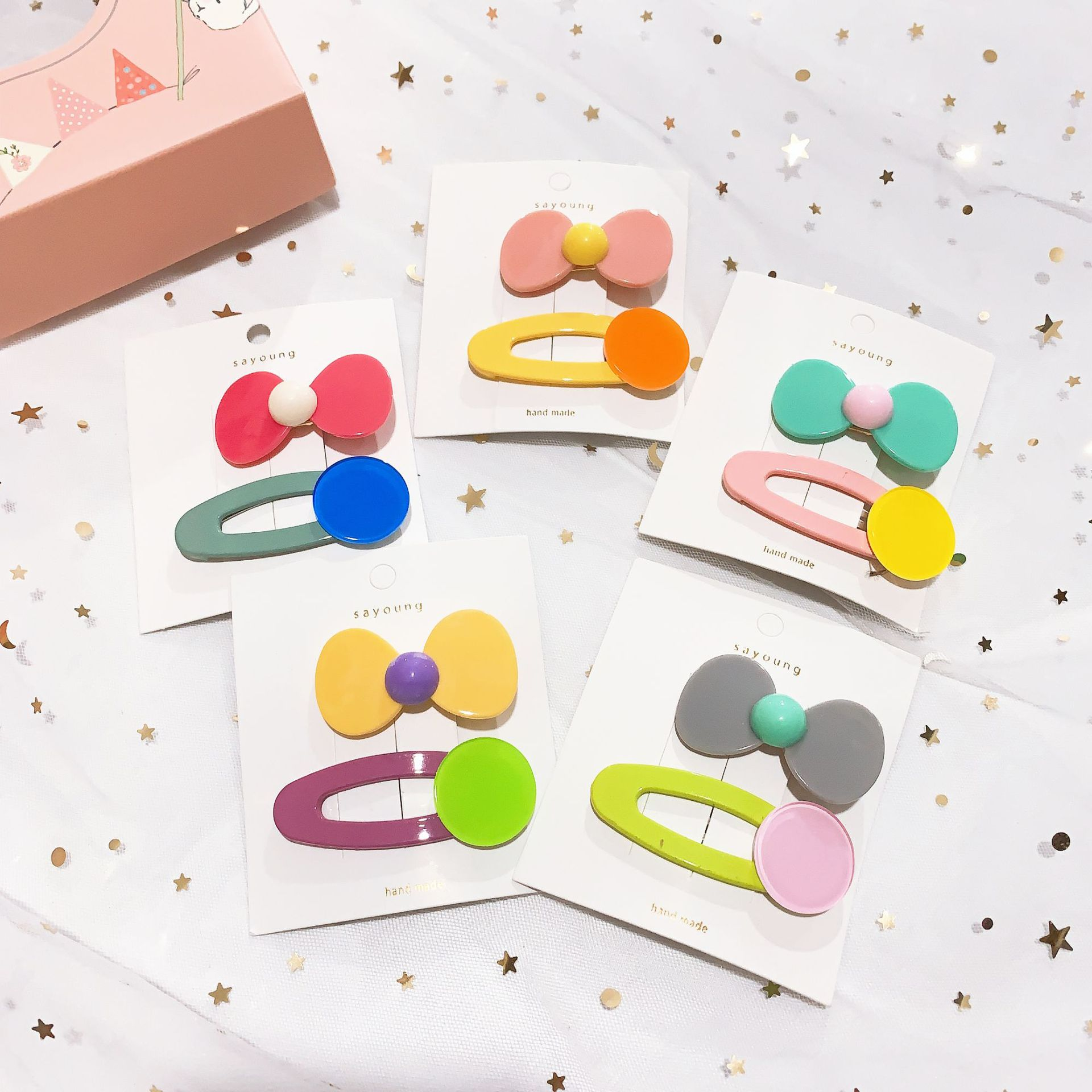 2PC Lovely Children's Series Bow Knot Hair Pins Sweet Girls Plastic Hair Grips Hair Accessories HeadWear