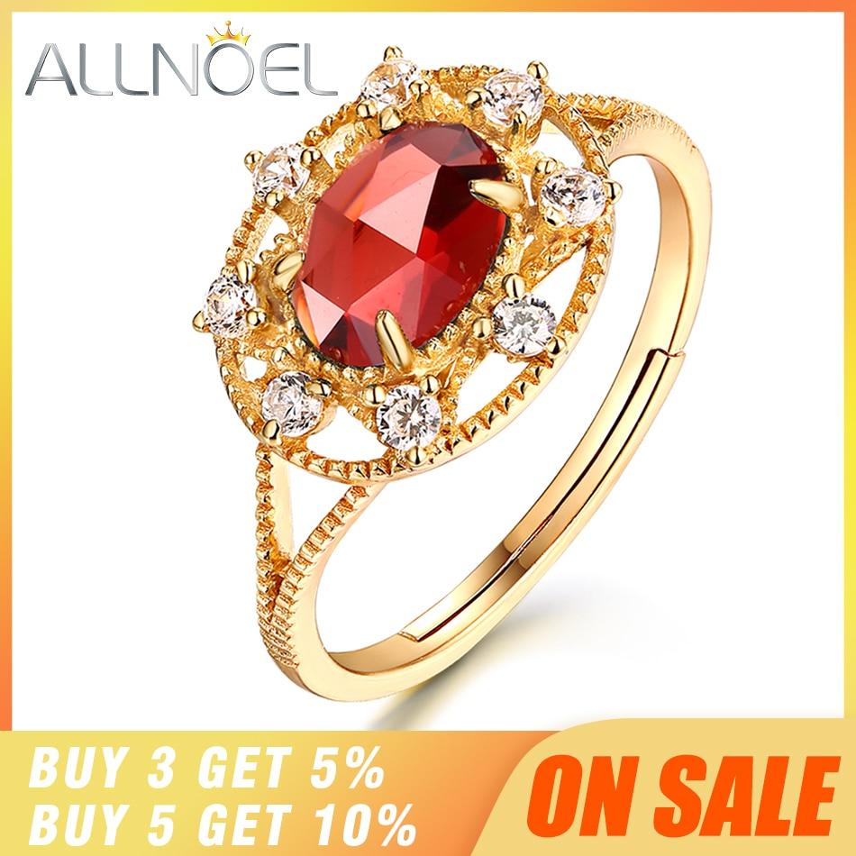 ALLNOEL argent 925 bijoux Moissanite anneau fait à la main pierres précieuses grenat Antique marque de luxe 925 en argent Sterling anneaux pour les femmes