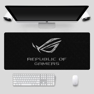 Image 5 - الموضة 90x40 سنتيمتر كبير ASUS الألعاب ماوس جمهورية اللاعبين لوحة المفاتيح وسادة قفل حافة المطاط المحمول دفتر مكتب حصيرة