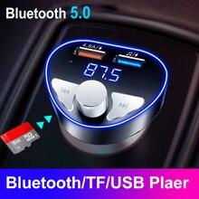 Bluetooth 5.0 samochodowy zestaw głośnomówiący Audio odtwarzacz MP3 nadajnik FM 4.8A szybka ładowarka USB Auto samochody TF/U dysk odtwarzanie muzyki