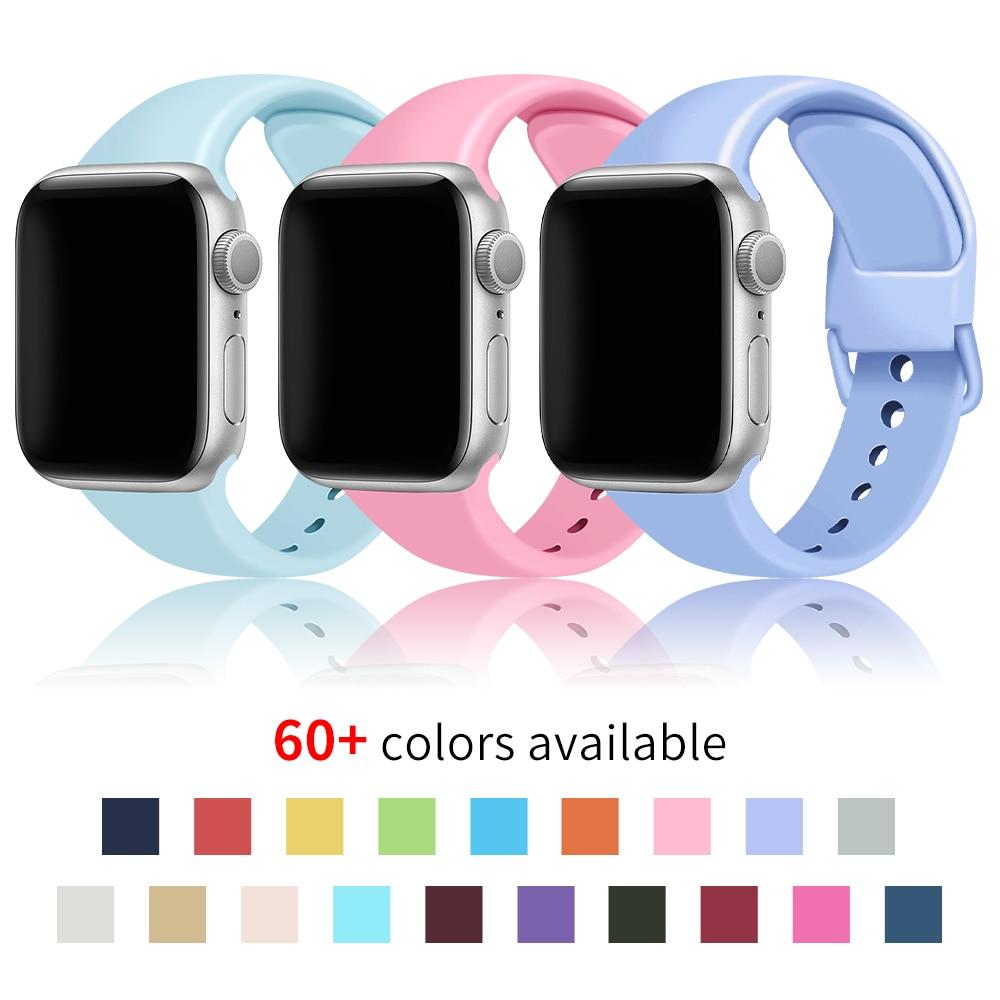 Pulseira de silicone macio para apple watch 5 correias 6 se 4 3 2 1 38mm 42mm faixa de relógio iwatch 44mm 40mm pulseira cinto acessórios