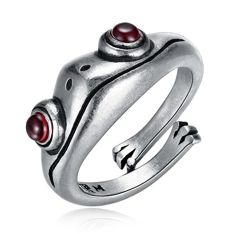 Qiluxy nova cor de prata hip hop abertura anel sapo garnet personalidade vintage anéis para mulheres presentes de jóias de festa