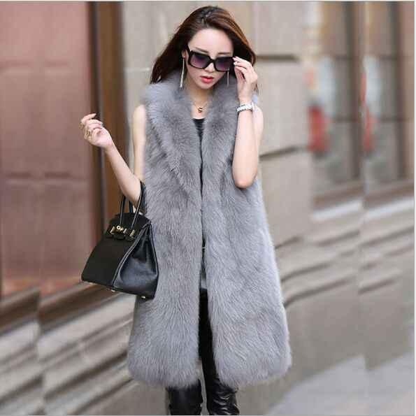 Chaleco de piel de zorro de imitación de lujo mullido estilo largo de mujer 2019 Vetement de invierno de piel mullida Chaleco de piel sintética para mujer XL760