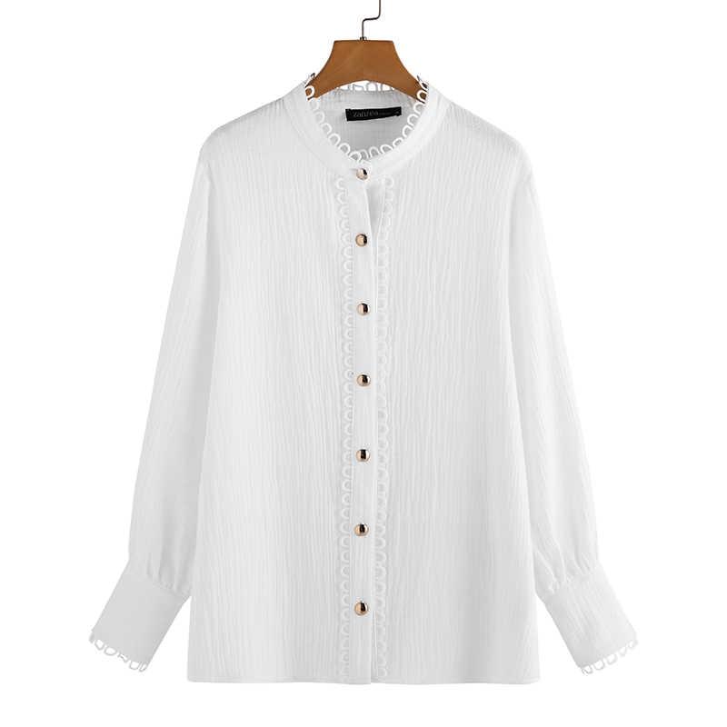 Zanzea primavera manga longa camisa de linho de algodão elegante feminino rendas crochê blusa feminina retalhos túnica topos botões soltos blusas7
