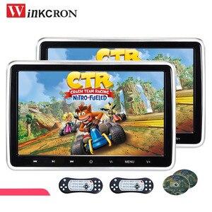 2 шт. Автомобильный подголовник монитор Автомобильный dvd-плеер 10,1 дюймов 1024x600 цифровой сенсорный экран с игровым пультом дистанционного упр...