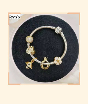 High Quality 1:1 100% Silver Floral Honeybee Crown String Bracelet Free Delivery