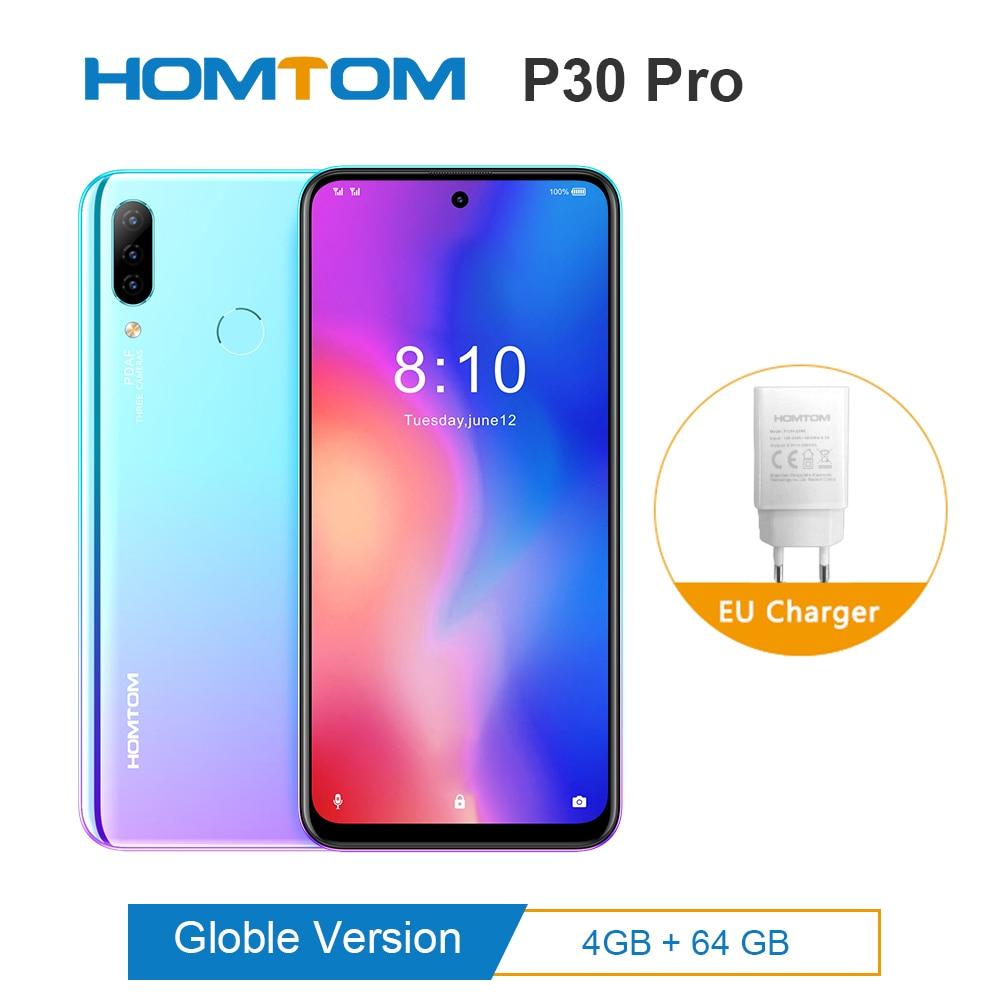 Original HOMTOM P30 pro Android 9.0 MTK6763 Octa Core 4GB 64GB Glas fall Smartphone 6,41 zoll 4000mAh 4G FDD-LTE Handy