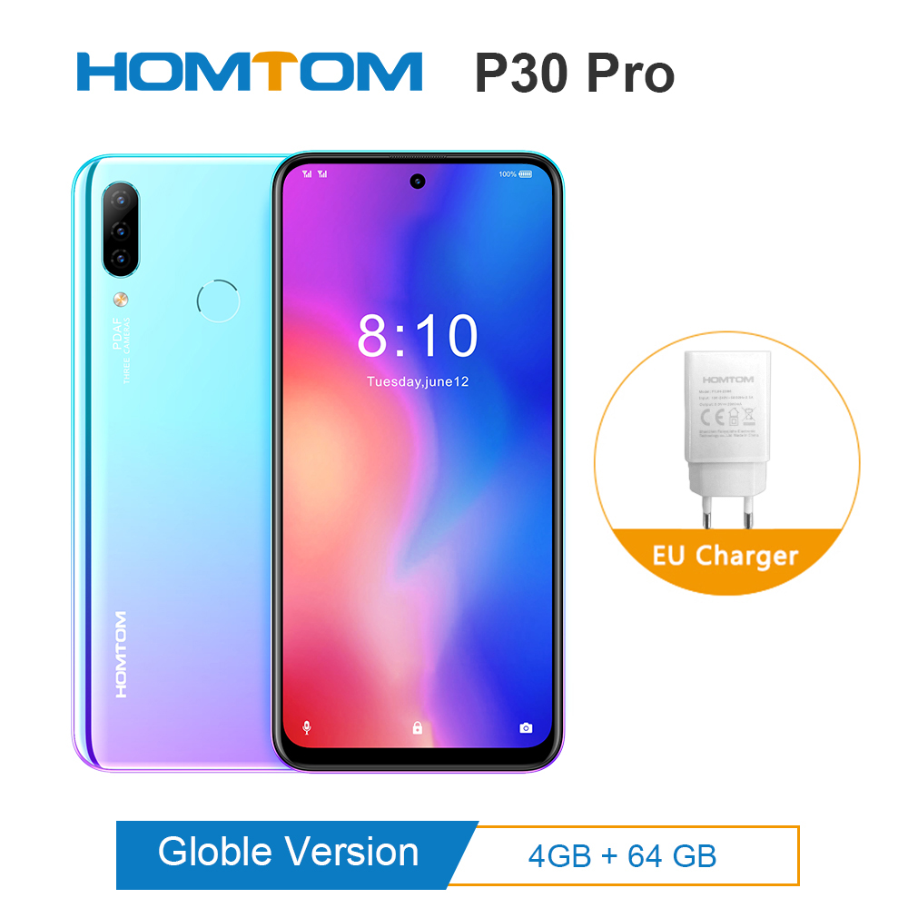Original HOMTOM P30 Pro Android 9.0 MTK6763 Octa Core 4GB 64GB Glass Case Smartphone 6.41inch 4000mAh 4G FDD-LTE Mobile Phone