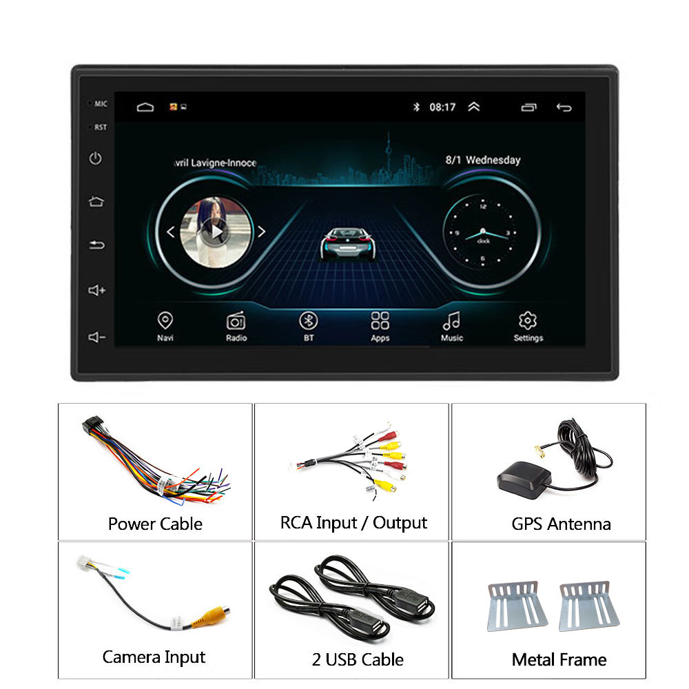 Podofo 2 din Car Radio GPS Android 8.1 Multimedia Player Universal 7 audio Navigation For Volkswagen Nissan Hyundai Kia Toyota