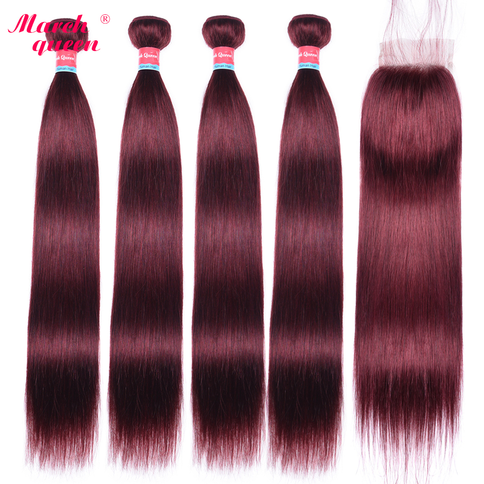 March Queen Straight Hair 4 Bundles With Closure #99J Peruvian Human Hair Weave With 4x4 Lace Closure Natural Baby Hair Line
