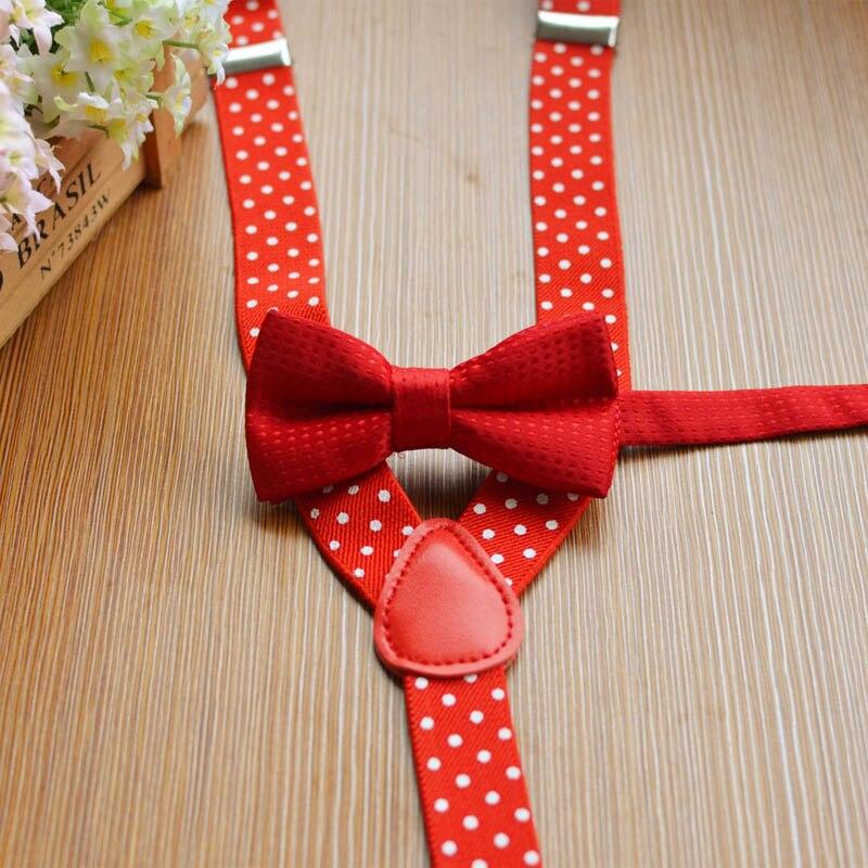 YSMILE Y Kids Dots Suspenders Set Fashion Print Dots Bow Tie Suit Elastic Adjustable Y-back Braces Wedding Ties For Children Boy