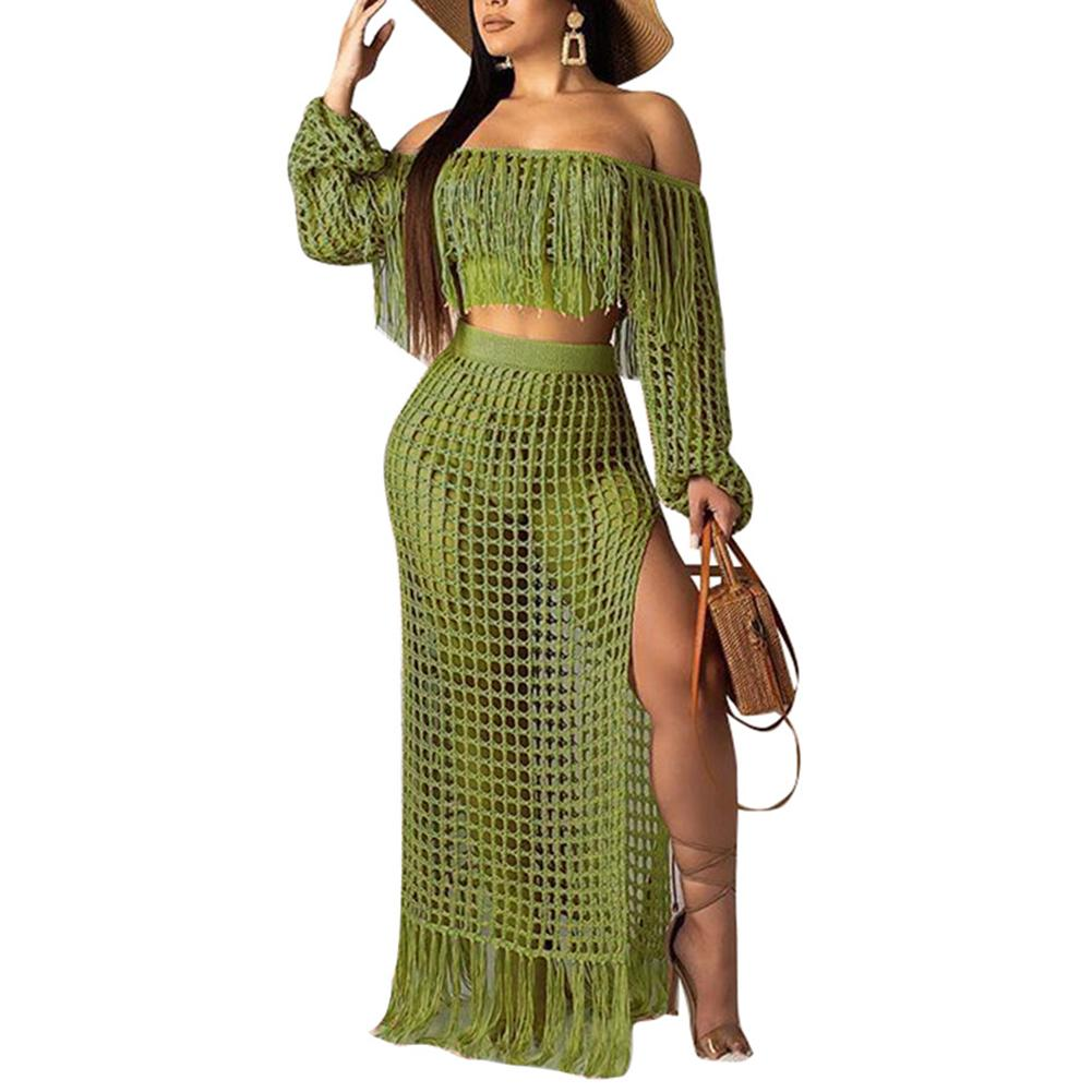 2Pcs/<font><b>Set</b></font> Fashion Summer Club Party Women Sexy Off Shoulder Long Sleeve <font><b>Tassel</b></font> Hollow Short Crop <font><b>Top</b></font> Bodycon Lady Split <font><b>Skirt</b></font> image